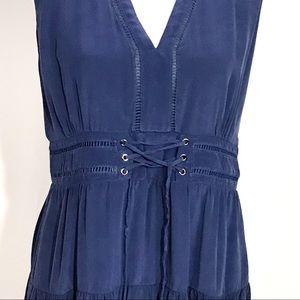 Greylin Dresses - Greylin navy blue silk dress with corset waist